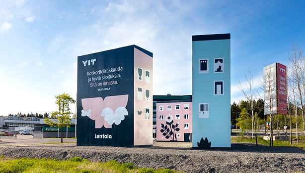 Uutta Lentolan asuinaluetta markkinoidaan tulostetuilla minikerrostaloilla