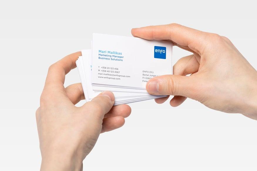 Enfo säästää aikaa ja vaivaa käyttämällä Granon tilausjärjestelmää käyntikorttien tilaamiseen
