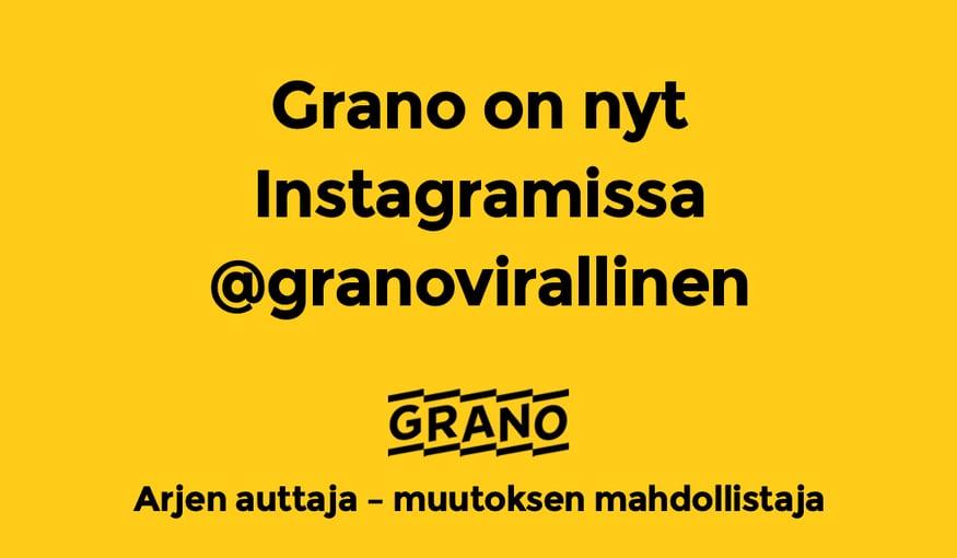 Seuraa Granoa Instagramissa käyttäjänimellä @granovirallinen