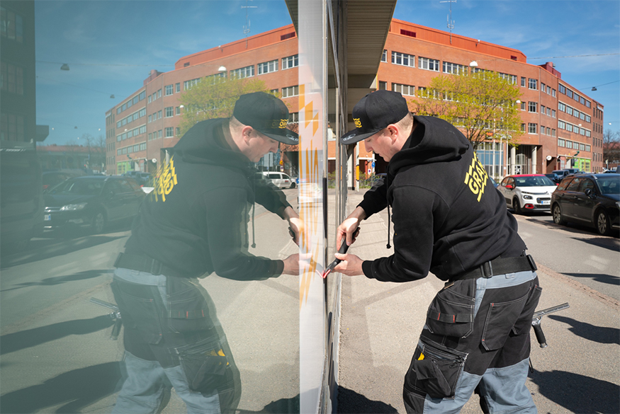 Grano Vallila Helsinki teippaus julkisivuteippaus ikkunateippaus